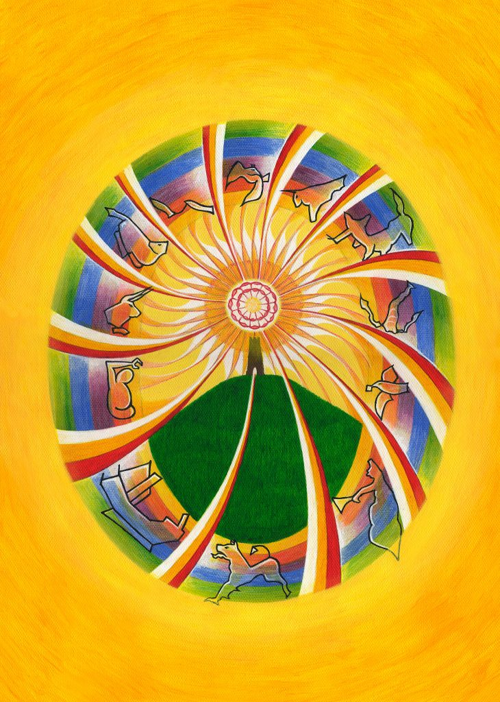 Glastonbury version of Crowley Sun tarot card by Yuri Leitch that will feature on cover of new edition of Glastonbury: Ancient Avalon, New Jerusalem.